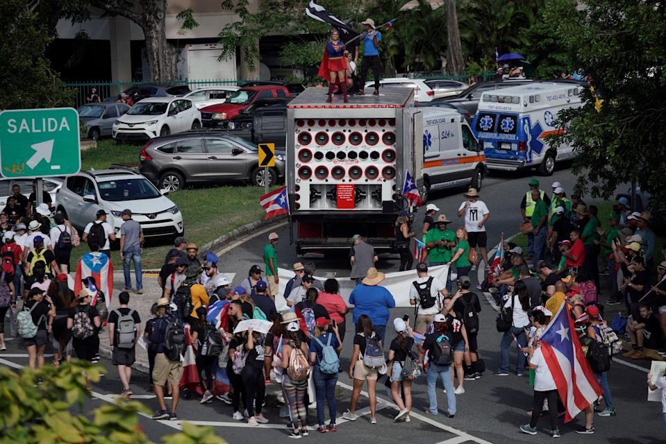 People take to the Las Americas Highway in San Juan, Puerto Rico, July 22, 2019 on day 9th of continuous protests demanding the resignation of Governor Ricardo Rosselló.