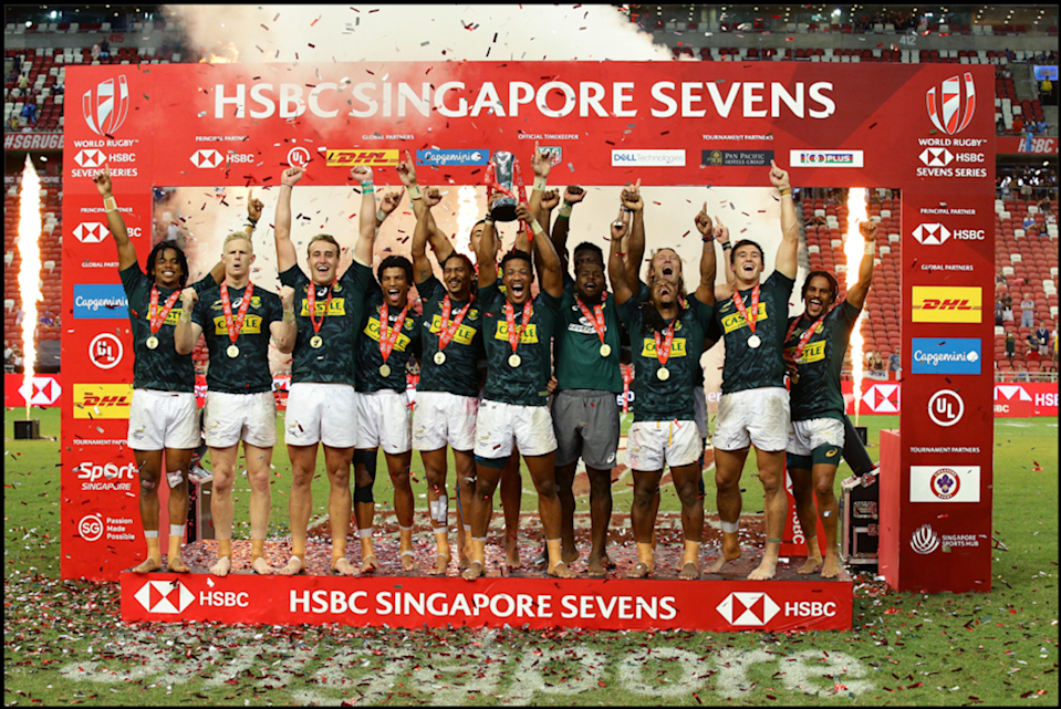 South Africa are crowned champions of the 2019 HSBC Singapore Rugby Sevens. (PHOTO: HSBC Singapore Rugby Sevens)