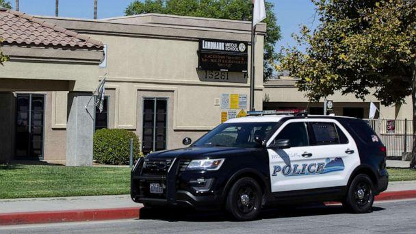 PHOTO: A police car sits in front of the Landmark Middle School in Moreno Valley, Calif., Sept. 18, 2019. (Orange County Register via ZUMA Wire)