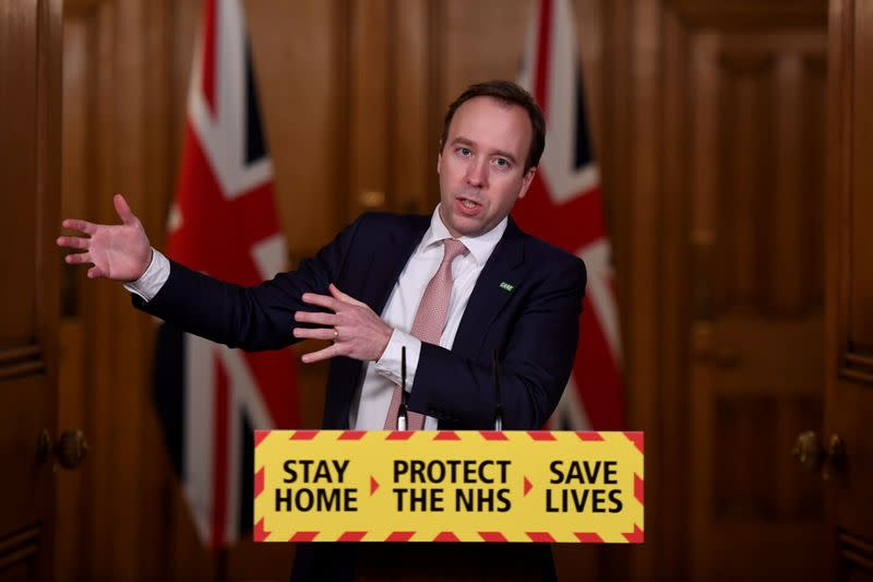 Britain's Health Secretary Matt Hancock holds a press briefing at Downing Street, in London