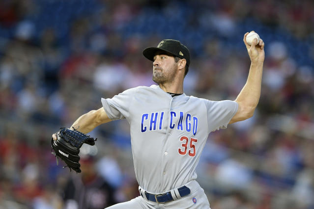 Chicago Cubs starting pitcher Cole Hamels delivers during the third inning of a baseball game against the Washington Nationals, Friday, May 17, 2019, in Washington. (AP Photo/Nick Wass)