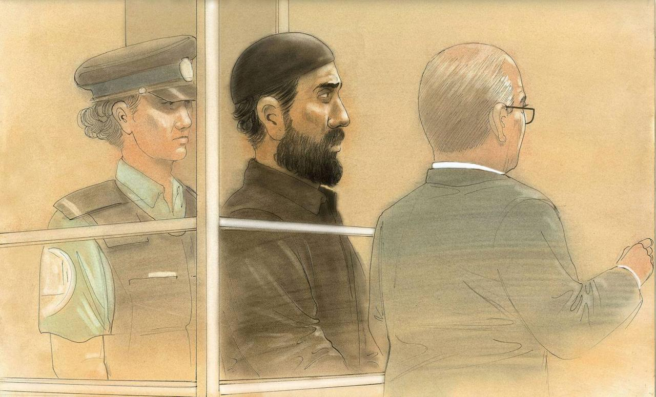 In this courtroom sketch, Raed Jaser appears in court in Toronto on Tuesday, April 23, 2013. Jaser, 35, and Chehib Esseghaier, 30, were arrested and charged Monday in what the RCMP said was the first known al-Qaida terror plot in Canada. (AP Photo/The Canadian Press, John Mantha)