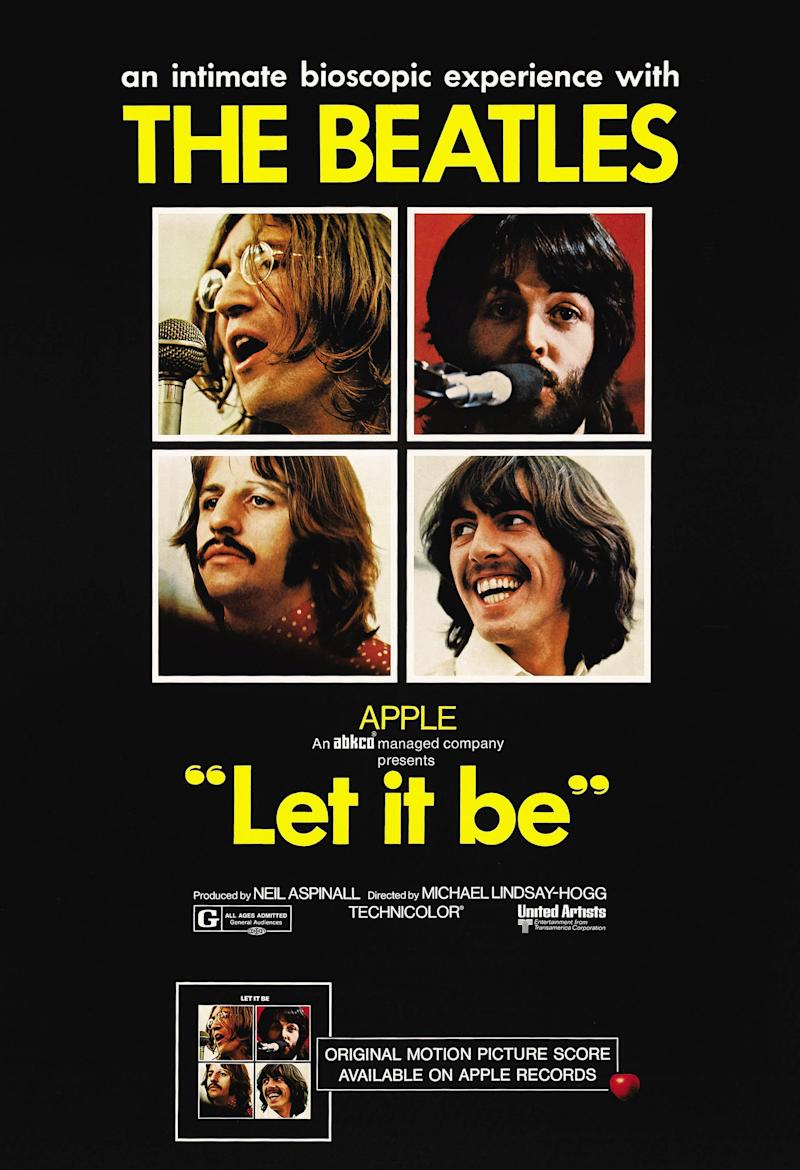 Let It Be, poster, The Beatles-clockwise from top left: John Lennon, Paul McCartney, George Harrison, Ringo Starr, 1970. (Photo by LMPC via Getty Images)