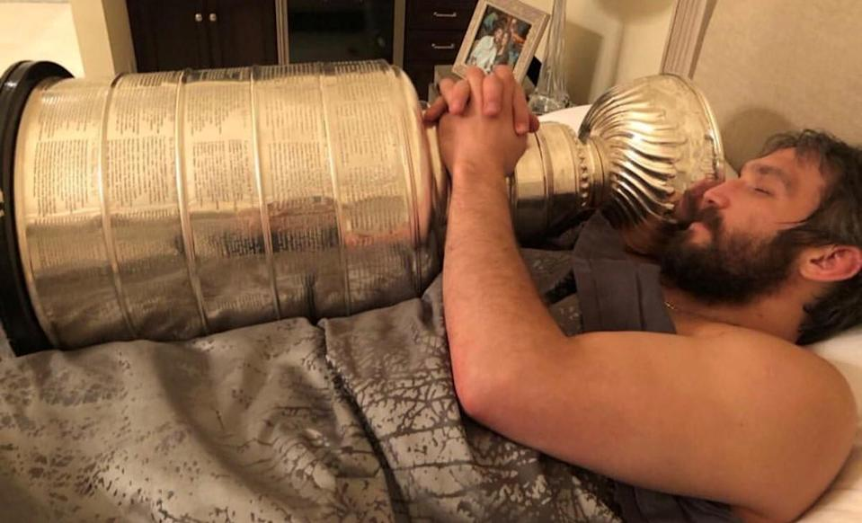 God help the Capitals teammate who tries to take the Stanley Cup away from Alex Ovechkin. (aleksandrovechkinofficial/Instagram)