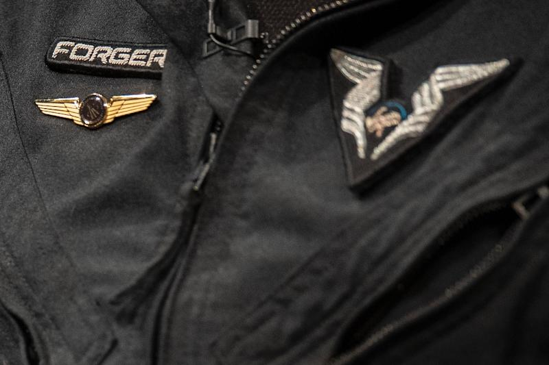 """Virgin Galactic Test Pilot Mark """"Forger"""" Stucky's newly pinned on FAA commercial astronaut wings (AFP Photo/Jim WATSON)"""