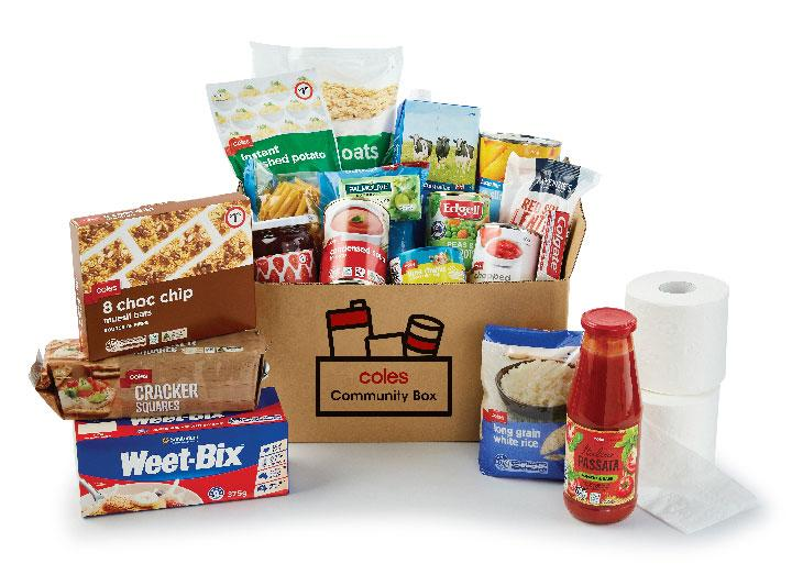 """The items that could be included in a """"Community Box"""" are seen. Source: Coles"""