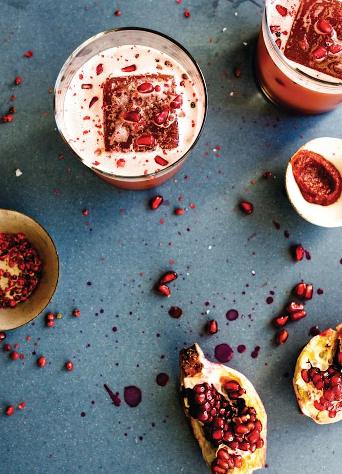 """Fresh pomegranate juice shines as bright as a Christmas star against a backdrop of savory harissa heat and a balanced floral aroma from lemon and rose water. <a href=""""https://www.epicurious.com/recipes/food/views/marrakesh-express-mezcal-pomegranate-fall-cocktail?mbid=synd_yahoo_rss"""">See recipe.</a>"""