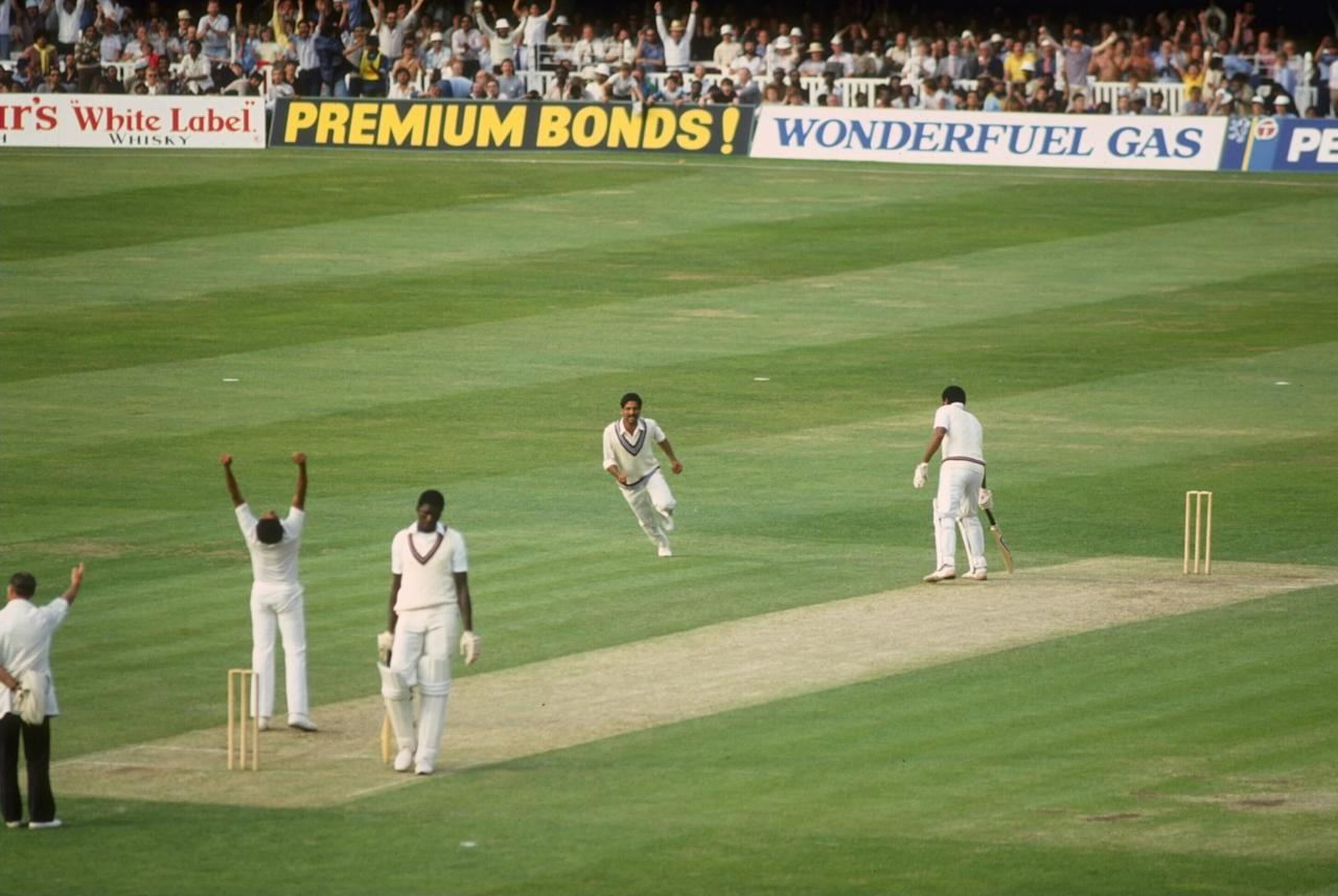25 Jun 1983:  Cricket World Cup final at Lords.  Andy Roberts of the West Indies loses his wicket to Kapil Dev  as India  power to victory in the final at Lords.  Joel Garner is the non striking batsman.