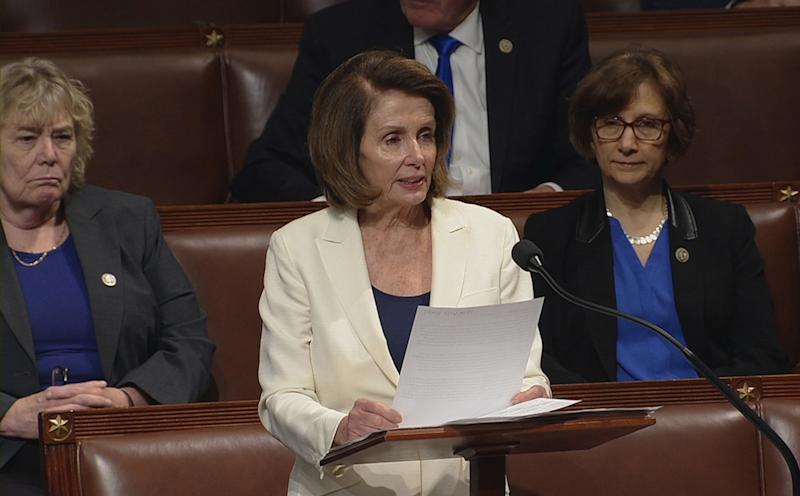 Pelosi spoke for over seven hours on the House floor on Wednesday. (Handout . / Reuters)