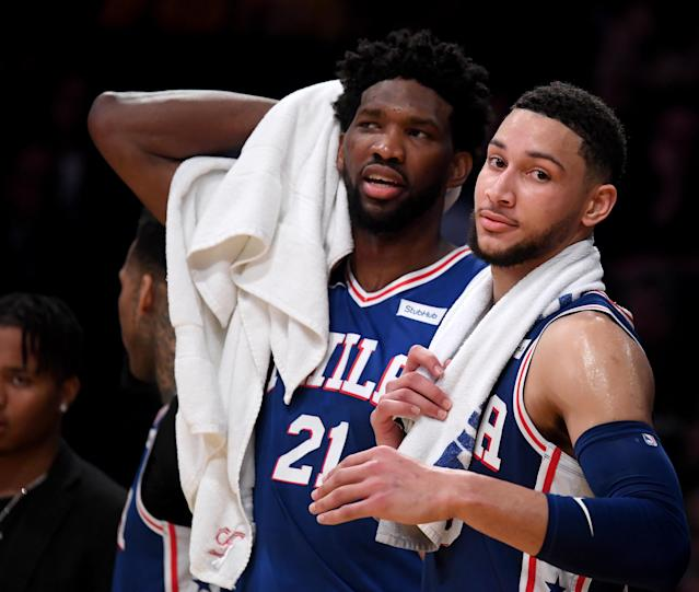 Ben Simmons, right, will join Sixers teammate Joel Embiid as an All-Star. (Getty)