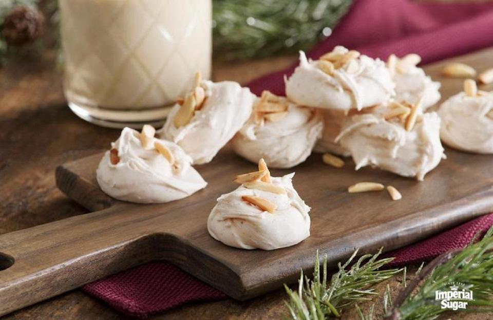 "<p>If you're unfamiliar with Mississippi's trending recipe, divinity, it's time you learn about this dessert made with light and fluffy meringue. This recipe gives the confection a holiday spin by infusing it with eggnog.</p> <p><a href=""https://www.thedailymeal.com/best-recipes/eggnog-divinity?referrer=yahoo&category=beauty_food&include_utm=1&utm_medium=referral&utm_source=yahoo&utm_campaign=feed"" rel=""nofollow noopener"" target=""_blank"" data-ylk=""slk:For an Eggnog Divinity recipe, click here."" class=""link rapid-noclick-resp"">For an Eggnog Divinity recipe, click here.</a></p>"