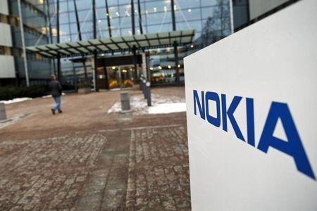 The Nokia company logo is pictured at its headquarters in Espoo