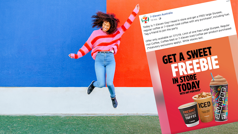 Pictured: 7/11 Facebook post about free Slurpees, woman jumps for joy. Images: Getty, 7/11 via Facebook