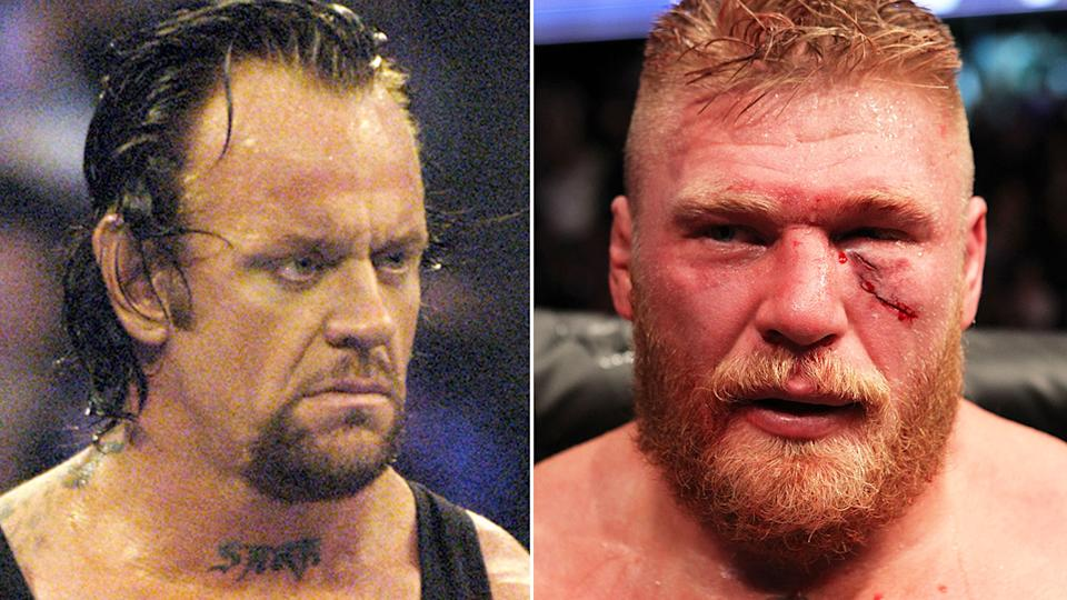 WWE legend The Undertaker is pictured in a 50/50 split image next to Brock Lesnar.