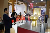 A golden toilet is on display at the second China International Import Expo (CIIE) on November 4, 2019 in Shanghai, China. (Photo by Han Haidan/China News Service/VCG via Getty Images)