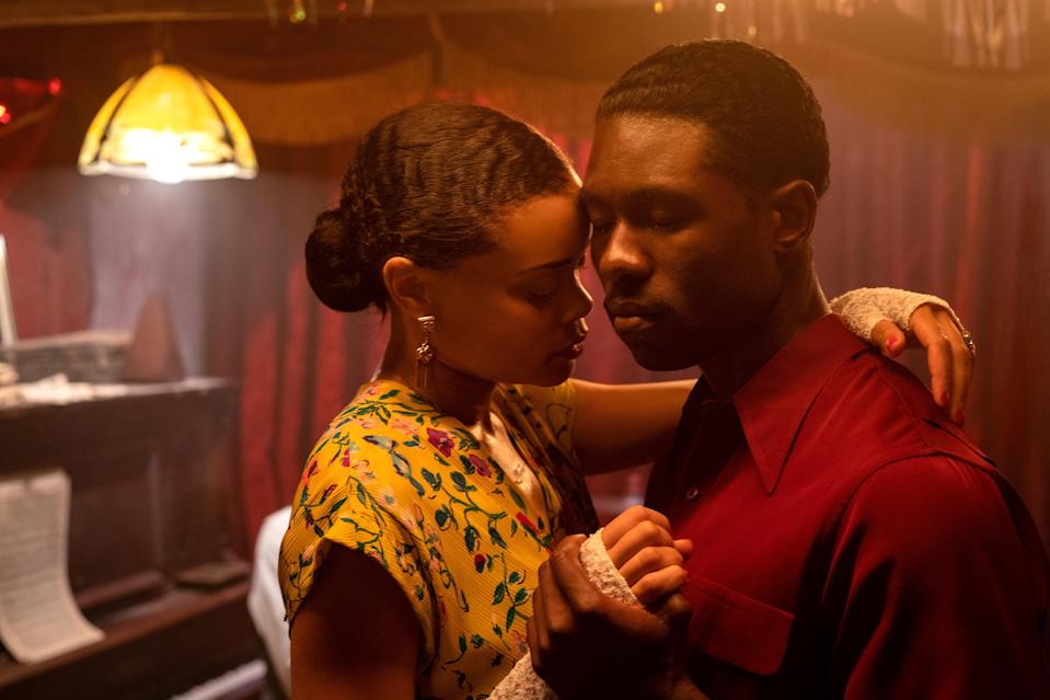 """Billie (Andra Day) falls for Jimmy Fletcher (Trevante Rhodes), an undercover federal agent assigned to infiltrate the jazz singer's inner circle, in """"The United States vs. Billie Holiday."""""""