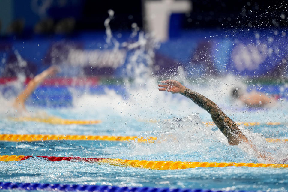 Caeleb Dressel, of the United States, swims the final leg of the mixed 4x100-meter medley relay at the 2020 Summer Olympics, Saturday, July 31, 2021, in Tokyo, Japan. (AP Photo/David Goldman)