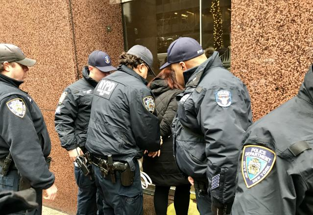 Police arrest a demonstrator outside the Manhattan office of Sen. Chuck Schumer, Jan. 17, 2018. (Photo: Caitlin Dickson/Yahoo News)