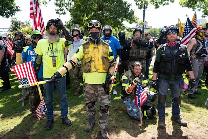 Far-right protesters in Portland, Oregon, march through Tom McCall Waterfront Park as part of a fascist rally on Aug. 4, 2018. Another rally, this one planned by the neofascist Proud Boys gang, is scheduled for this Saturday. (Photo: Photo by Kainoa Little/SOPA Images/LightRocket via Getty Images)
