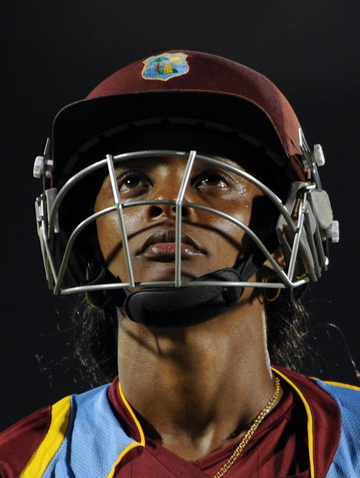 West Indies cricketer Merissa Aguilleria reacts after her dismissal during the final match of the ICC Women's World Cup 2013 between Australia and West Indies at the Cricket Club of India's Brabourne stadium in Mumbai on February 17, 2013. AFP PHOTO/Indranil MUKHERJEE        (Photo credit should read INDRANIL MUKHERJEE/AFP/Getty Images)