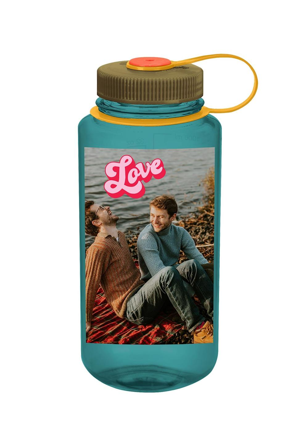 """<p>We're all trying to drink more water and use reusable containers these days, and now Nalgene is letting you do just that <em>and</em> wear your heart on your sleeve, er, <a href=""""https://custom.nalgene.com/"""" rel=""""nofollow noopener"""" target=""""_blank"""" data-ylk=""""slk:Nalgene bottle."""" class=""""link rapid-noclick-resp"""">Nalgene bottle.</a> This gift is perfect for everyone, but we particularly love it for the kids in your life — send them to school with a fully customizable water bottle!</p> <p><strong>$20, <a href=""""https://custom.nalgene.com/"""" rel=""""nofollow noopener"""" target=""""_blank"""" data-ylk=""""slk:custome.nalgene.com"""" class=""""link rapid-noclick-resp"""">custome.nalgene.com</a></strong></p> <p><strong>*Use discount code HEY2021 to get 20% off two or more bottles (expires 1/31/21)</strong></p>"""