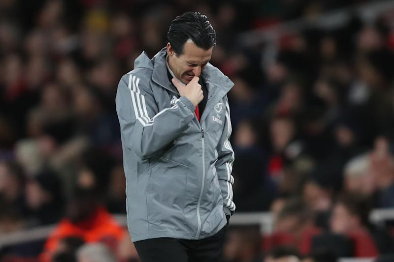 LONDON, ENGLAND - NOVEMBER 28: Unai Emery manager of Arsenal during the UEFA Europa League group F match between Arsenal FC and Eintracht Frankfurt at Emirates Stadium on November 28, 2019 in London, United Kingdom. (Photo by Marc Atkins/Getty Images)