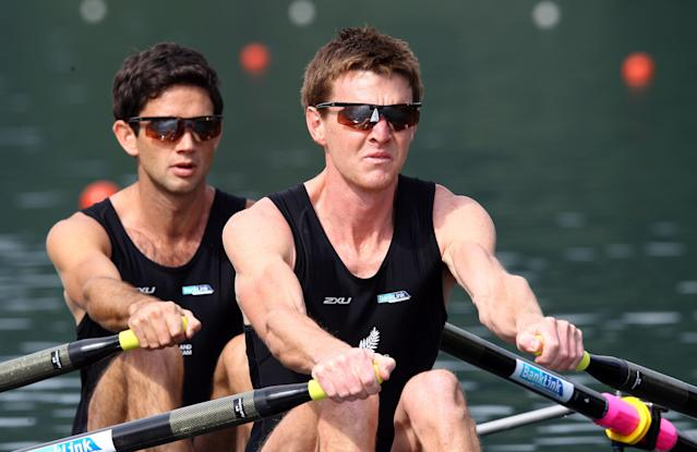 LUCERNE, SWITZERLAND - MAY 25: Peter Taylor (R) and Storm Uru (L) of New Zealand row in the Men's lightweight double sculls during Day 1 of the 2012 Samsung World Rowing Cup III on Lucerne Rotsee on May 25, 2012 in Lucerne, Switzerland. (Photo by Martin Rose/Bongarts/Getty Images)