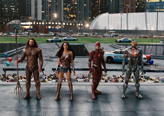 Jason Momoa (Aquaman), Gal Gadot (Wonder Woman), Ezra Miller (Flash), and Ray Fisher (Cyborg) in  <em>Justice League.</em> (Photo: Warner Bros.)