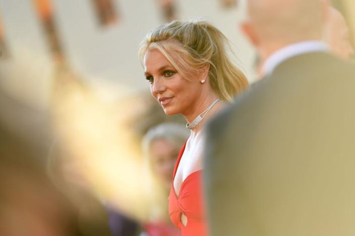 """Britney Spears at the premiere of """"Once Upon a Time ... in Hollywood"""" at the TCL Chinese Theatre in 2019. <span class=""""copyright"""">(Chris Pizzello / Associated Press)</span>"""
