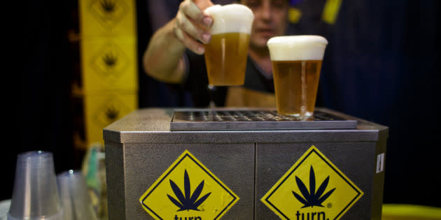A seller sells hemp beer during 4th Cannafest International Hemp Fair on November 8, 2013 in Prague, Czech Republic.