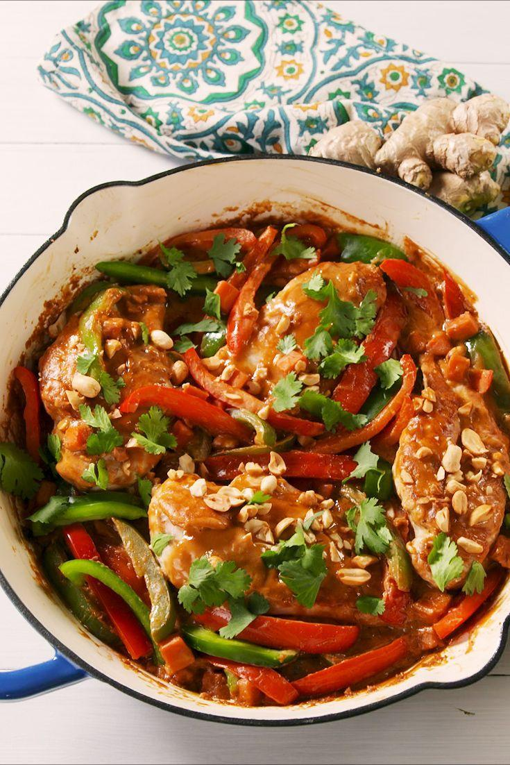 """<p>The peanut sauce is the perfect balance of sweet and salty. </p><p>Get the recipe from <a href=""""https://www.delish.com/cooking/recipe-ideas/a22805039/thai-peanut-skillet-chicken-recipe/"""" rel=""""nofollow noopener"""" target=""""_blank"""" data-ylk=""""slk:Delish"""" class=""""link rapid-noclick-resp"""">Delish</a>. </p>"""