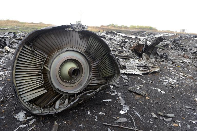 The wreckage of Malaysia Airlines Flight MH17 at the crash site in the village of Grabovo on September 9, 2014