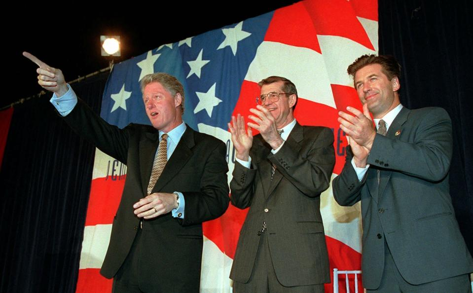 "FILE - Democratic National Committee co-chairman Don Fowler, center, is flanked by President Clinton, left, and actor Alec Baldwin as Clinton is introduced in a reception for the Saxophone Club outside the Smash Box photo studio in Culver City, Calif., in this Monday, June 10, 1996, file photo. Don Fowler, a former chair of the Democratic National Committee and mainstay of South Carolina and national politics for decades, has died. He was 85. Trav Robertson, chairman of South Carolina's Democratic Party, said on Twitter Fowler died Tuesday night, Dec. 15, 2020, calling him ""the ""Democrat's Democrat."" No cause was mentioned, but Fowler's wife said on Facebook that Fowler had been in the hospital this week. (AP Photo/Joe Marquette)"