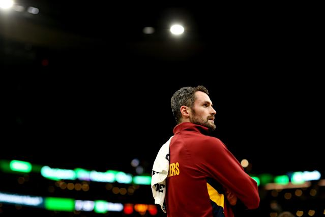 Once again the focus of trade talks with the Cavaliers, Kevin Love insists that it's still business as usual for him in Cleveland. (Maddie Meyer/Getty Images)