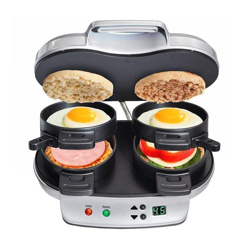 "<p><strong>Hamilton Beach</strong></p><p>amazon.com</p><p><strong>$39.99</strong></p><p><a href=""https://www.amazon.com/Hamilton-Beach-Breakfast-Sandwich-Maker/dp/B00N3L2DMG?tag=syn-yahoo-20&ascsubtag=%5Bartid%7C2089.g.1764%5Bsrc%7Cyahoo-us"" rel=""nofollow noopener"" target=""_blank"" data-ylk=""slk:Shop Now"" class=""link rapid-noclick-resp"">Shop Now</a></p><p>Making breakfast for two has never been easier. Each component of this sandwich maker cooks or toasts any individual egg-sandwich ingredients you want. Plus, all the parts are dishwasher-safe. </p>"