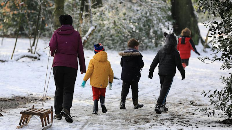 Children enjoy snow day as schools across the country close