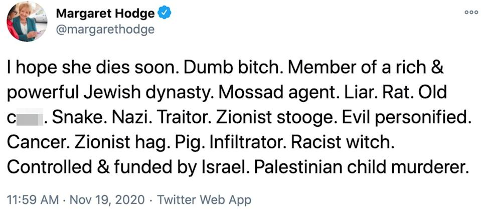 The twitter post shared by Dame Margaret Hodge. (Margaret Hodge/Twitter)