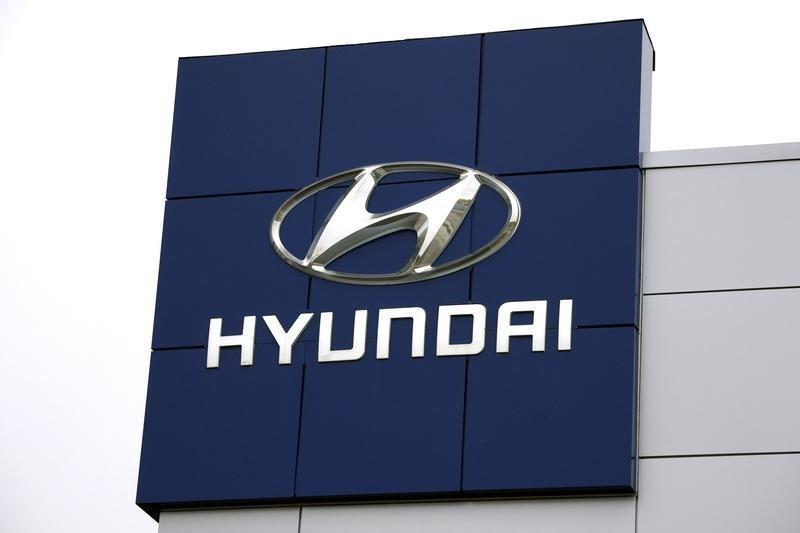 The Hyundai logo is seen outside a Hyundai car dealer in Golden