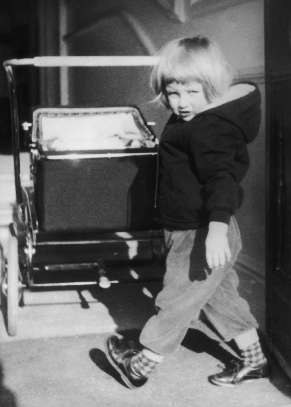 "<p>A young Diana Spencer pushes a stroller at Park House, Sandringham in Norfolk. In 1983, the Queen turned Park House into a <a href=""https://www.sandringhamestate.co.uk/holiday-cottages-sandringham/park-house-hotel/"" rel=""nofollow noopener"" target=""_blank"" data-ylk=""slk:hotel"" class=""link rapid-noclick-resp"">hotel</a> specifically designed to accommodate disabled people and their families. </p>"
