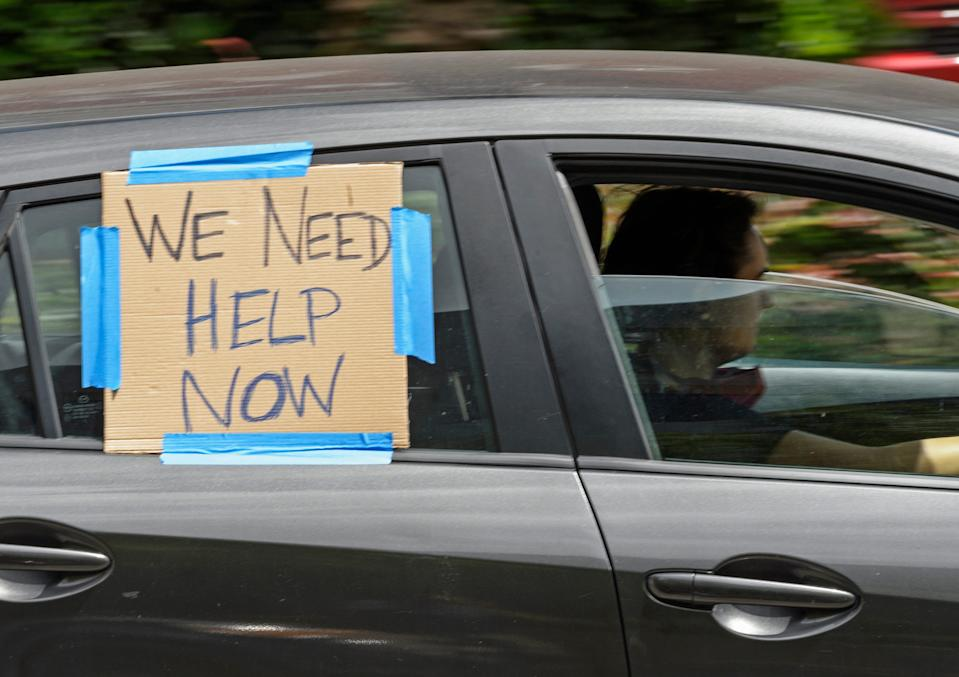 A caravan protest on unemployment benefits in New Orleans on July 22, 2020.