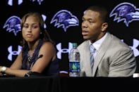 "FILE - In this May 23, 2014, file photo, Baltimore Ravens running back Ray Rice, right, speaks alongside his wife, Janay, during a news conference, Friday, May 23, in Owings Mills, Md. Rice's two-game suspension for domestic violence begins Saturday, a punishment handed down after grainy video showed him dragging his then-fiancee off a casino elevator unconscious Feb. 15. He has not divulged what happened in the elevator except to call his actions ""totally inexcusable'' at a news conference after his suspension was announced. His assault charges could be expunged once he completes a diversion program. So the NFL gave him the only punishment he likely faces in a suspension and a fine that totals more than $500,000. (AP Photo/Patrick Semansky, File)"