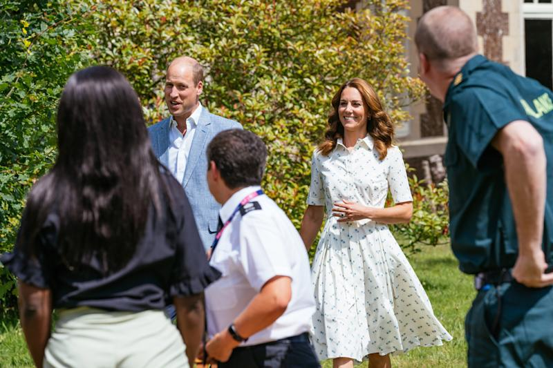 SANDRINGHAM, UNITED KINGDOM - JULY: In this undated handout photo issued on July 23, 2020 by Kensington Palace, Prince William, Duke of Cambridge and Catherine, Duchess of Cambridge arrive to speak to four representatives from organisations which will benefit from the Royal Foundation's £1.8 Million fund to support frontline workers and the nation's mental health at the Sandringham Estate in Sandringham, United Kingdom. (Photo by Kensington Palace via Getty Images)
