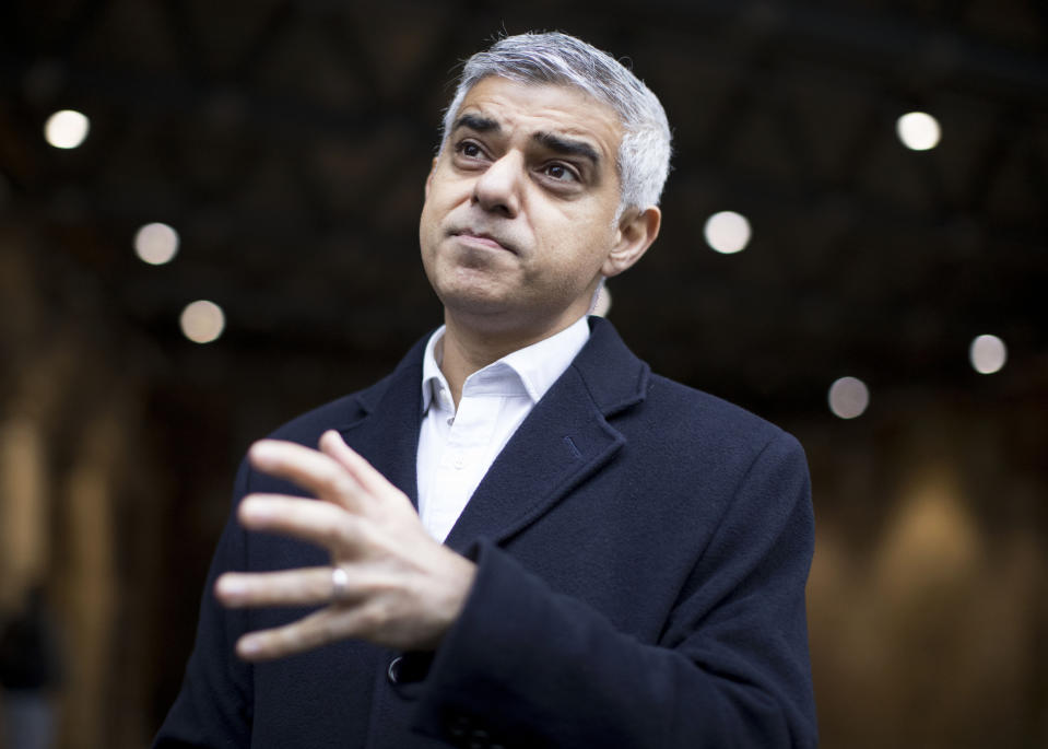 Mayor of London Sadiq Khan talking to commuters at London Bridge station at the start of his campaigning for the London Mayoral election. (Photo by Rick Findler/PA Images via Getty Images)