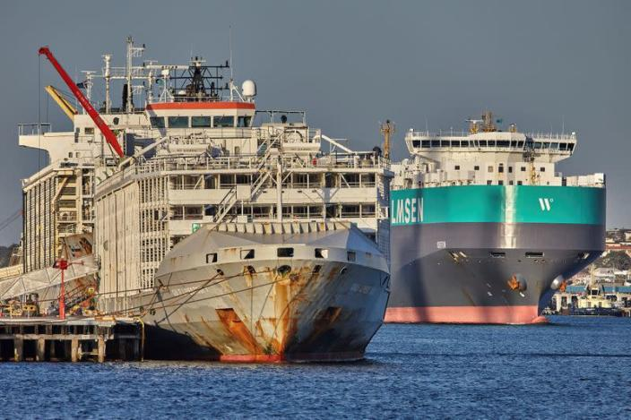 The Gulf Livestock 1 is seen at Fremantle Harbour in Western Australia