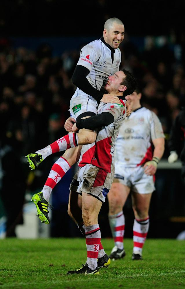 BELFAST, NORTHERN IRELAND - JANUARY 15: Ian Humphreys and Paddy Wallace of Ulster celebrate victory during the Heineken Cup match between Ulster and Biarritz at Ravenhill on January 15, 2011 in Belfast, Northern Ireland. (Photo by Jamie McDonald/Getty Images)