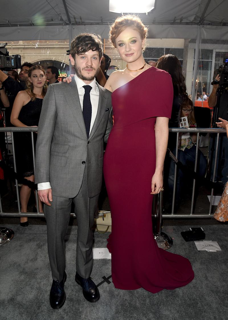 Iwan Rheon and Sophie Turner at the premiere of Game of Thrones season six in Hollywood, California, April 2016.