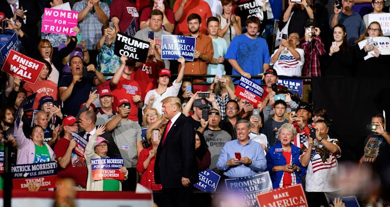 Since Aug. 1, 2018, Trump has held 33 campaign-style rallies, targeting states with rural, white populations and higher than average approval ratings for the president. (Jeff Swensen via Getty Images)