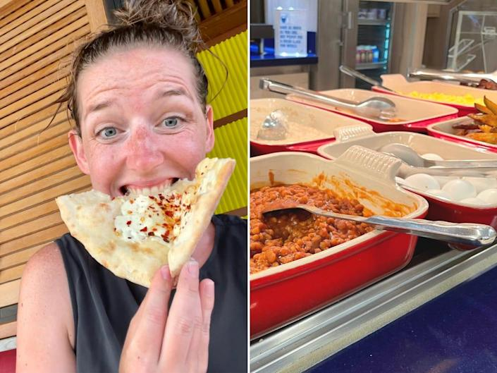 An image of the author eating pizza and an image of the breakfast buffet.