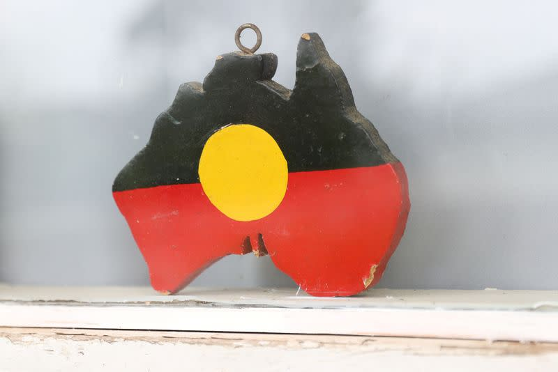 A depiction of the Australian Aboriginal Flag is seen on a window sill in Sydney