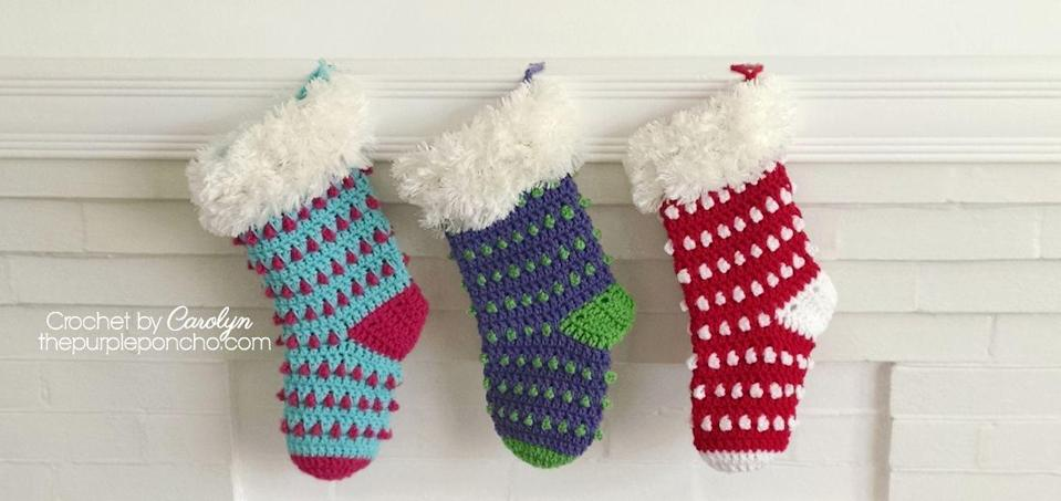 """<p>You can use any color combination you want for these polka dot stockings that use the """"Berry Stitch,"""" hence the Holly Berry name.</p><p><strong>Get the tutorial at <a href=""""https://www.thepurpleponcho.com/holly-berry-stocking-free-crochet-pattern/"""" rel=""""nofollow noopener"""" target=""""_blank"""" data-ylk=""""slk:The Purple Poncho"""" class=""""link rapid-noclick-resp"""">The Purple Poncho</a>.</strong></p><p><strong><a class=""""link rapid-noclick-resp"""" href=""""https://www.amazon.com/Clover-3672-Amour-Crochet-sizes/dp/B00B2CCA6W/ref=sr_1_3?tag=syn-yahoo-20&ascsubtag=%5Bartid%7C10050.g.28872655%5Bsrc%7Cyahoo-us"""" rel=""""nofollow noopener"""" target=""""_blank"""" data-ylk=""""slk:SHOP CROCHET HOOKS"""">SHOP CROCHET HOOKS</a><br></strong></p>"""